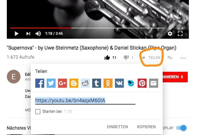 YouTube teilen